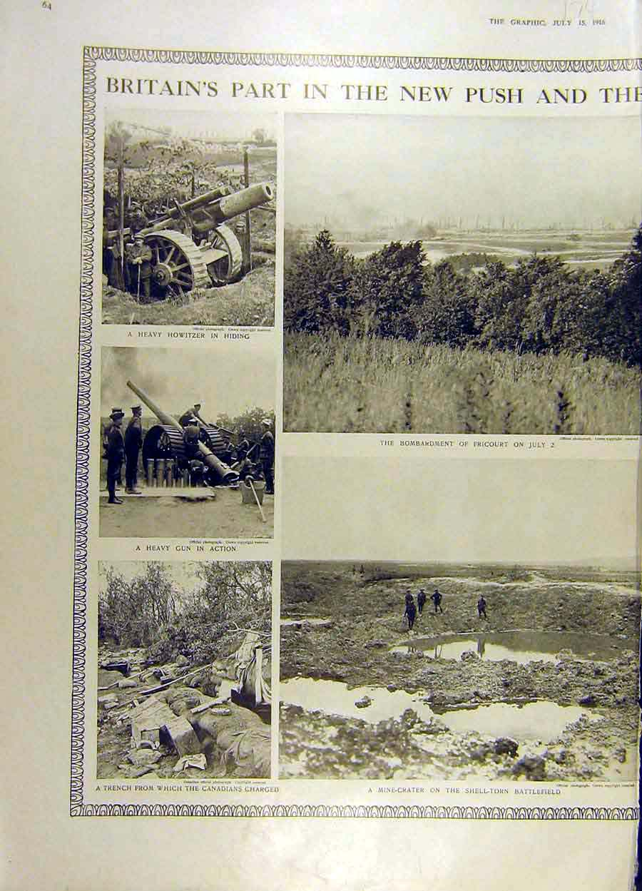 Print 1916 Ww1 Howitzer Gun Battlefield Mine-Crater Canadian 74Ddd1 Old Original