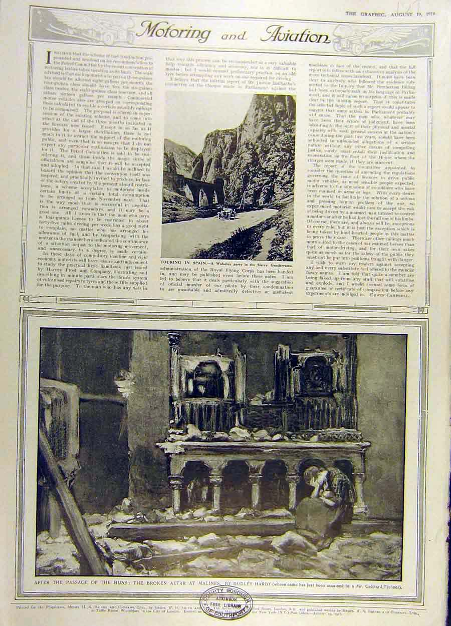 Print 1916 Wolseley Spain Ruin Malines Altar Church Ww1 79Ddd1 Old Original