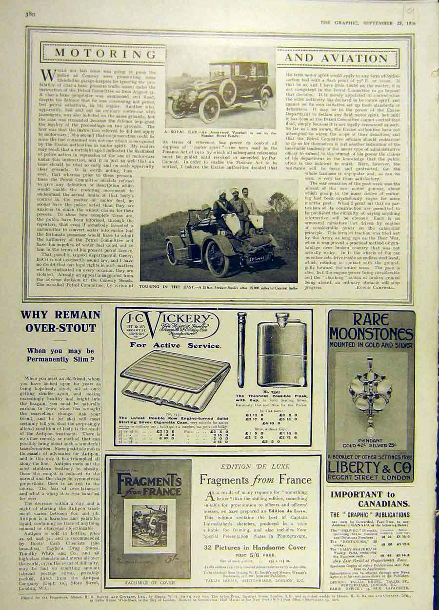Print 1916 Royal Car Avon Tyre Vauxhall Straker-Squire Advert 91Ddd1 Old Original