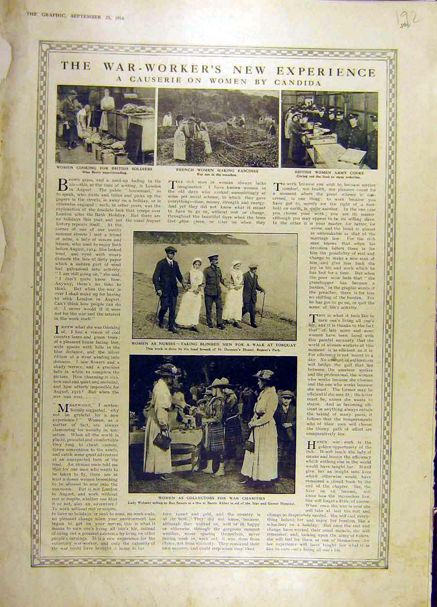 Print 1916 War-Workers Women Ww1 Nurses Charity 92Ddd1 Old Original