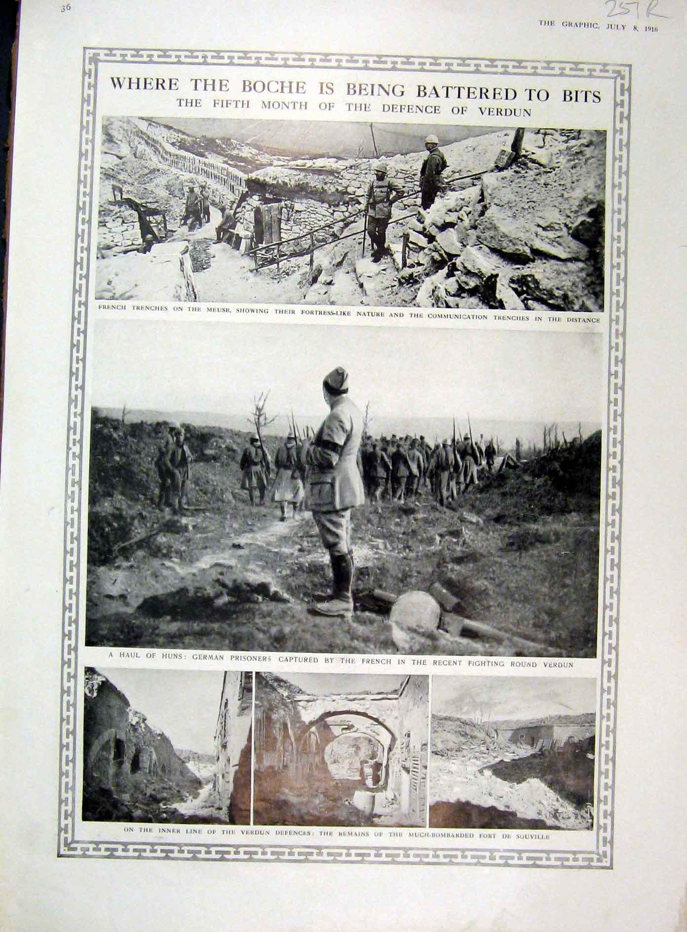 Print 1916 Boche Ww1 War Verdun German Prisoners Map Arras 51Rddd1 Old Original