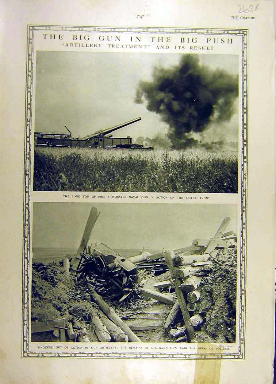 Print 1916 Artillery Long-Tom Gun Pozieres Queen Alexandra 62Rddd1 Old Original
