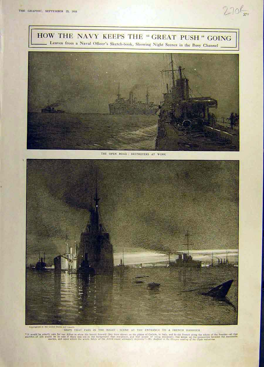 Print 1916 Navy War Ww1 Destroyers Picardy Battle Somme 70Rddd1 Old Original