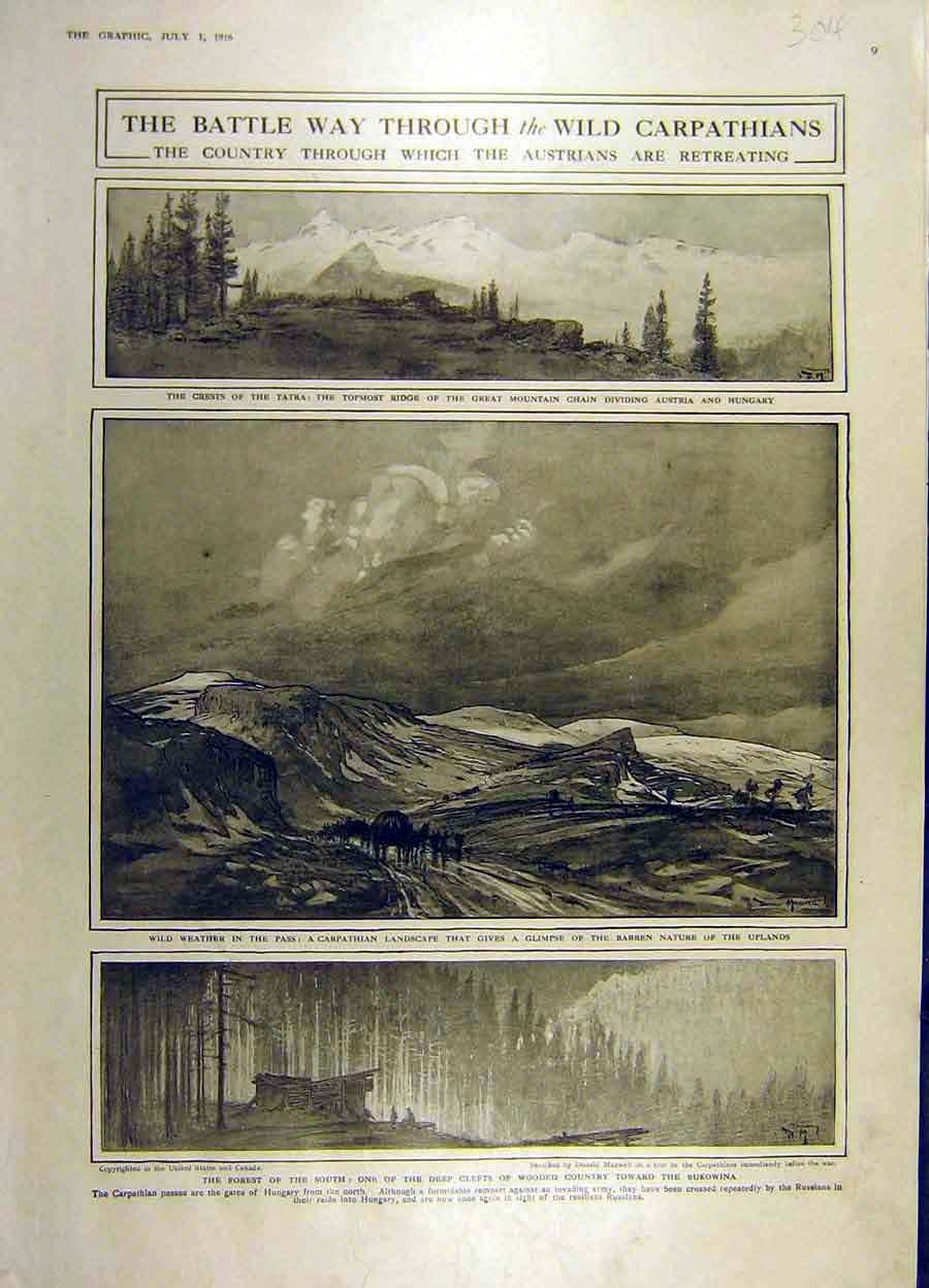 Print 1916 Battle War Ww1 Carpathians Tatra Mountains 04Ddd1 Old Original