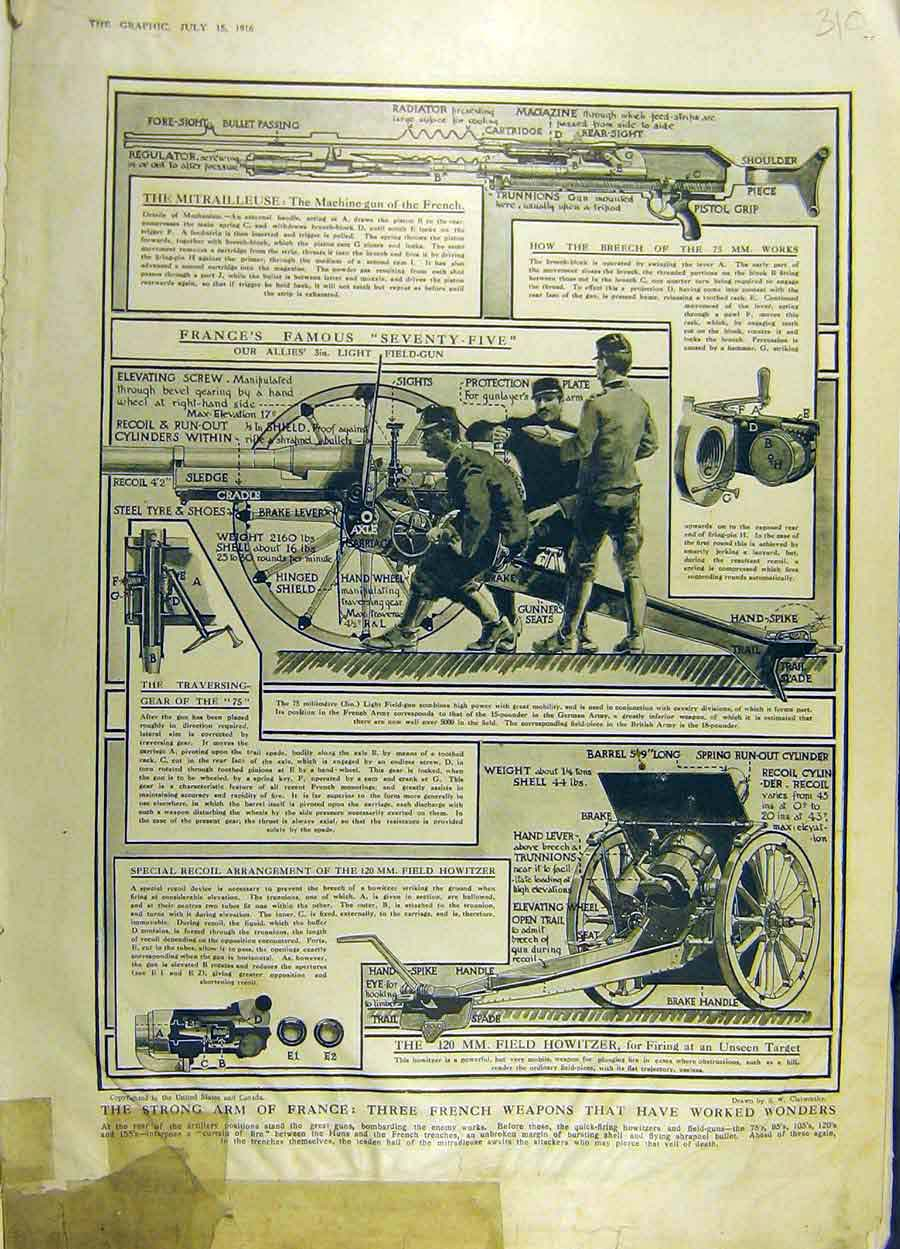Print 1916 Guns Machine-Gun Howitzer Weapons War Ww1 10Ddd1 Old Original