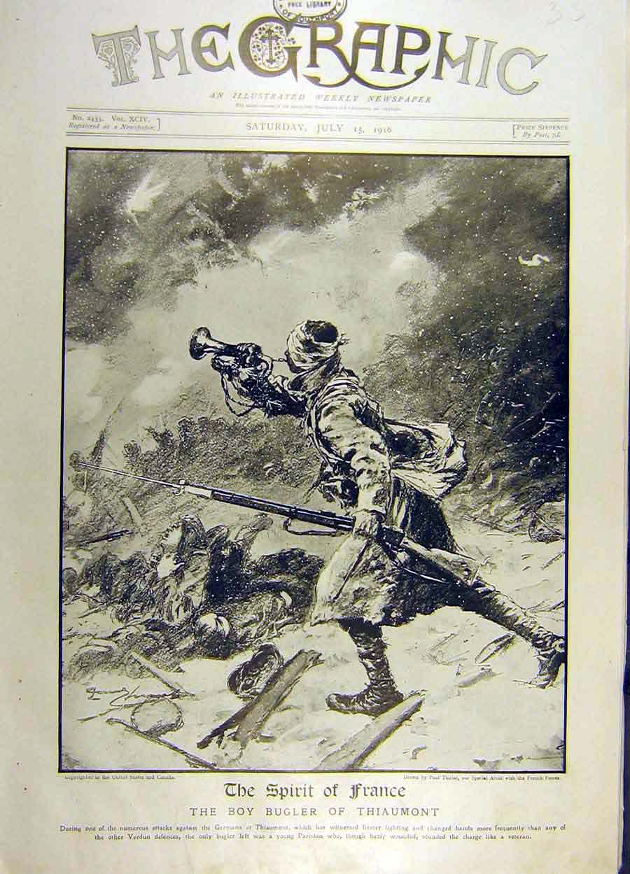 Print 1916 Spirit France War Ww1 Boy-Bugler Thiaumont 13Ddd1 Old Original