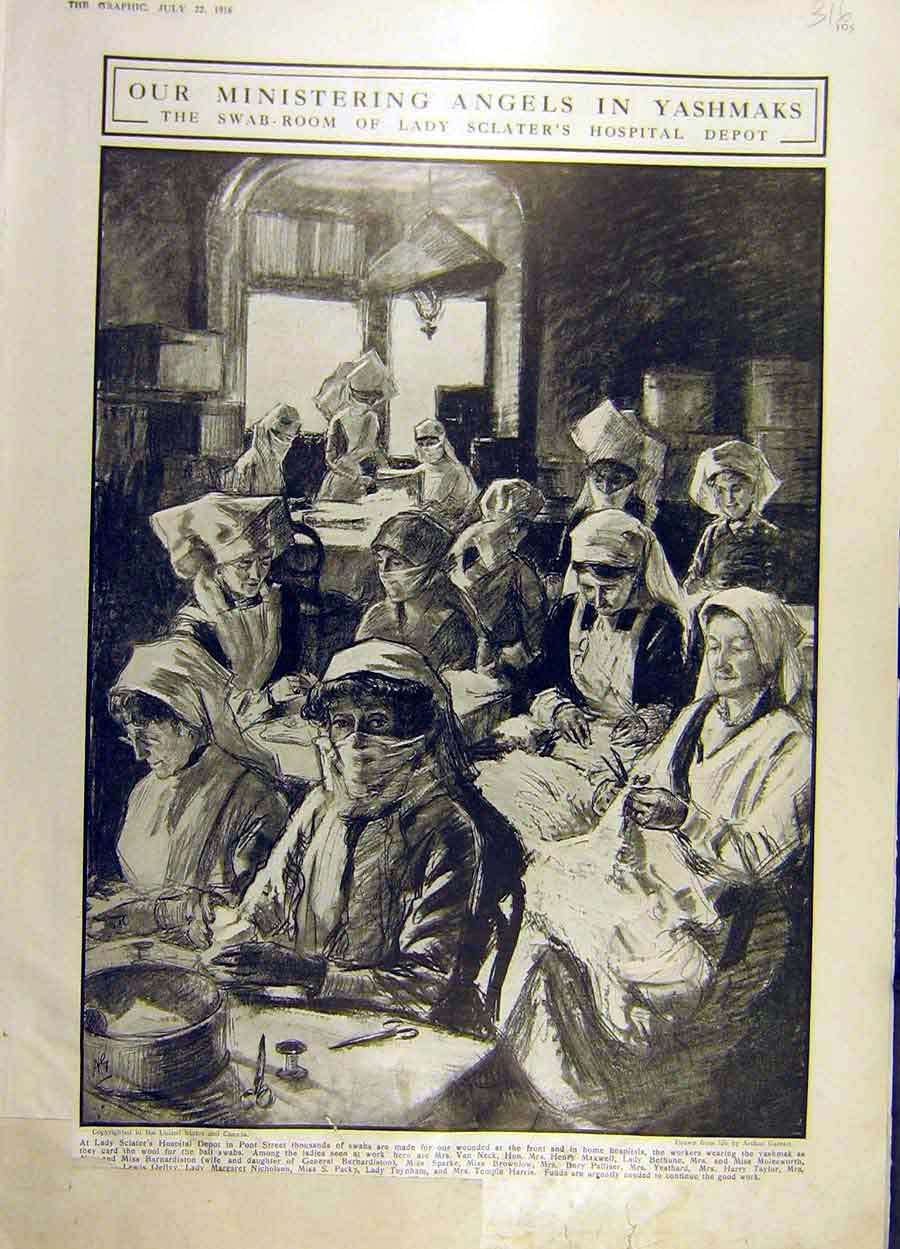 Print 1916 Yashmaks Lady-Sclater Hospital Women Ww1 War 16Ddd1 Old Original