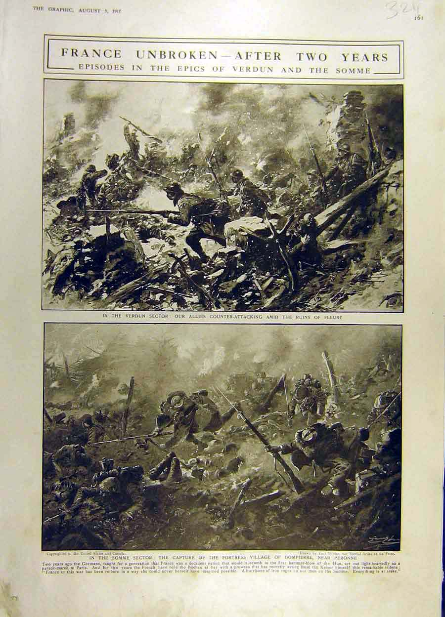 Print 1916 Somme Verdun Fleury War Ww1 Battle-Field Soldiers 24Ddd1 Old Original