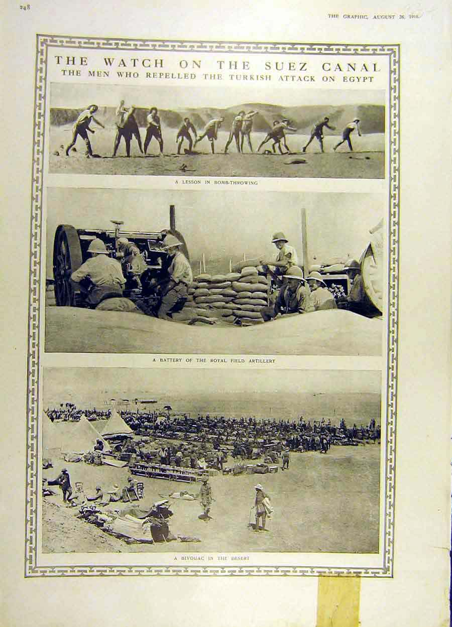 Print 1916 Suez Canal Bomb-Throwing Soldier War Ww1 Artillery 34Ddd1 Old Original