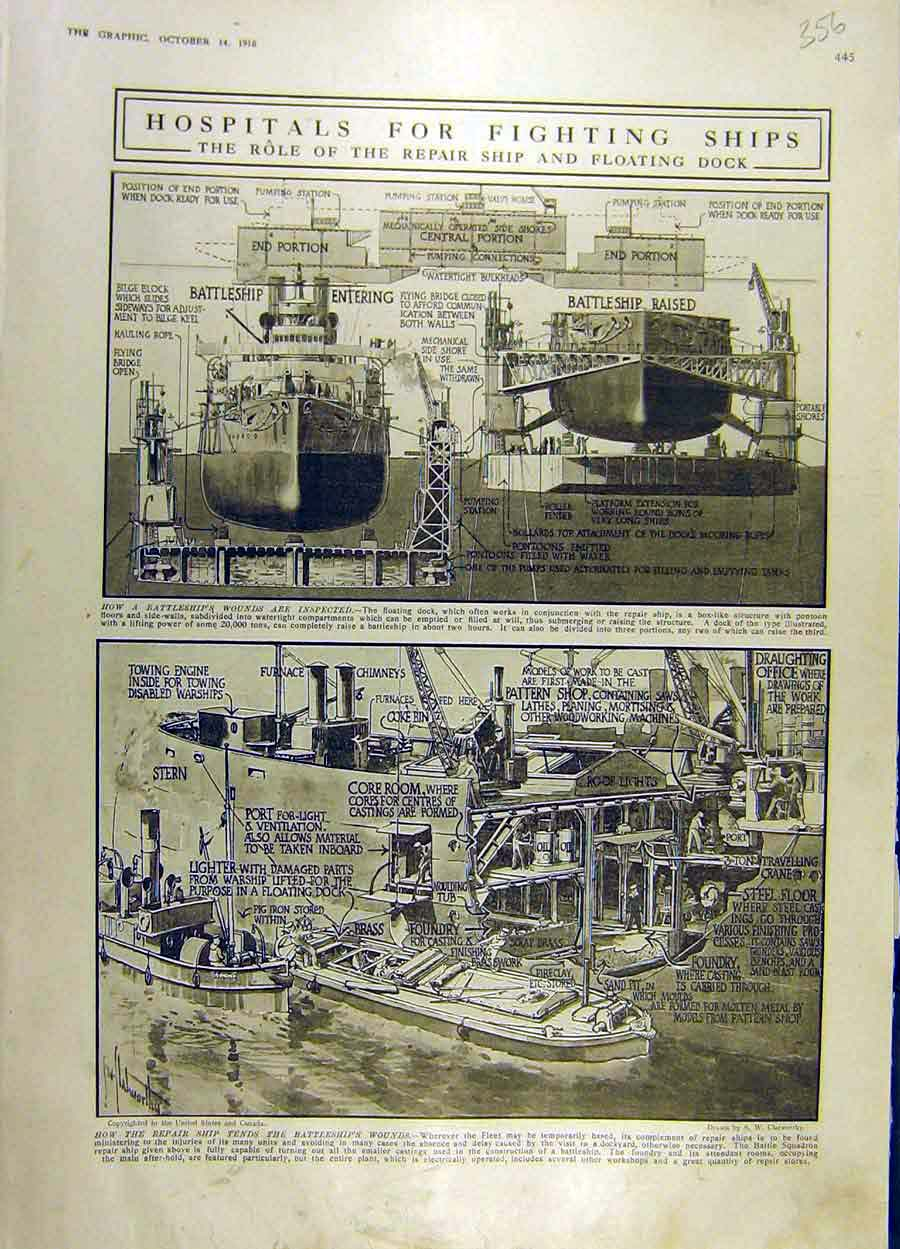 Print 1916 Hospital Ships Battleship Repair War Ww1 56Ddd1 Old Original
