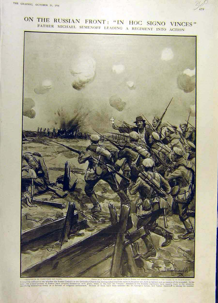Print 1916 Russian Front Semenoff Regiment Battle War Ww1 60Ddd1 Old Original