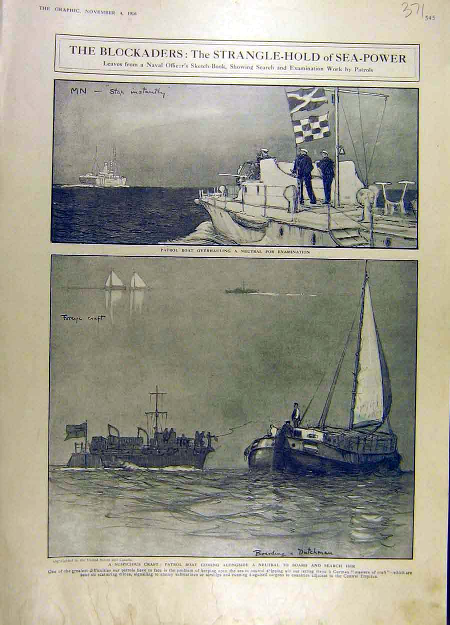 Print 1916 Sea-Power Navy Patrol-Boat War Ww1 Sketch 71Ddd1 Old Original