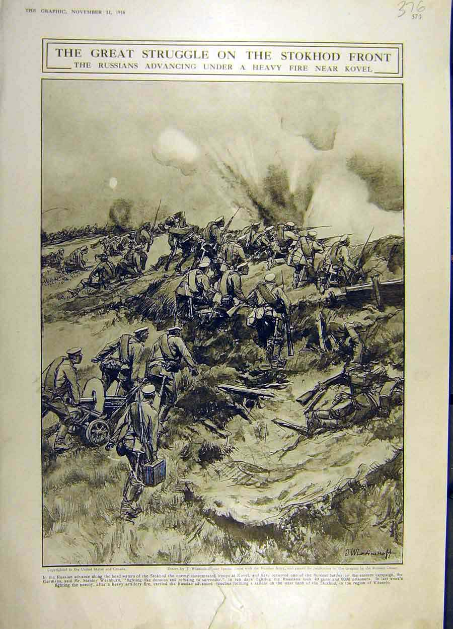 Print 1916 Stokhod Russians Kovel Battle-Field War Ww1 76Ddd1 Old Original