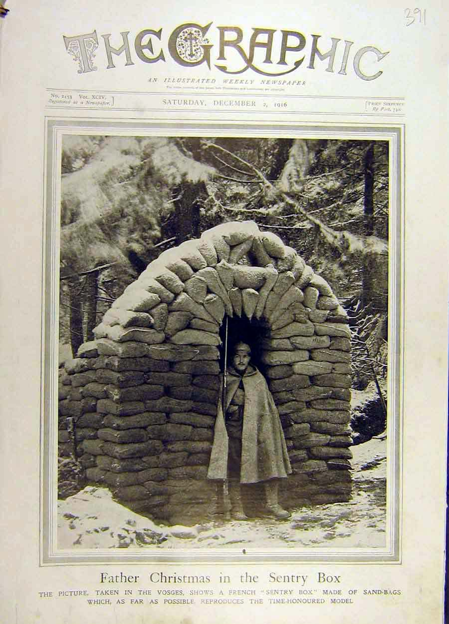 Print 1916 Father-Christmas Sentry-Box Soldier Vosges Ww1 91Ddd1 Old Original