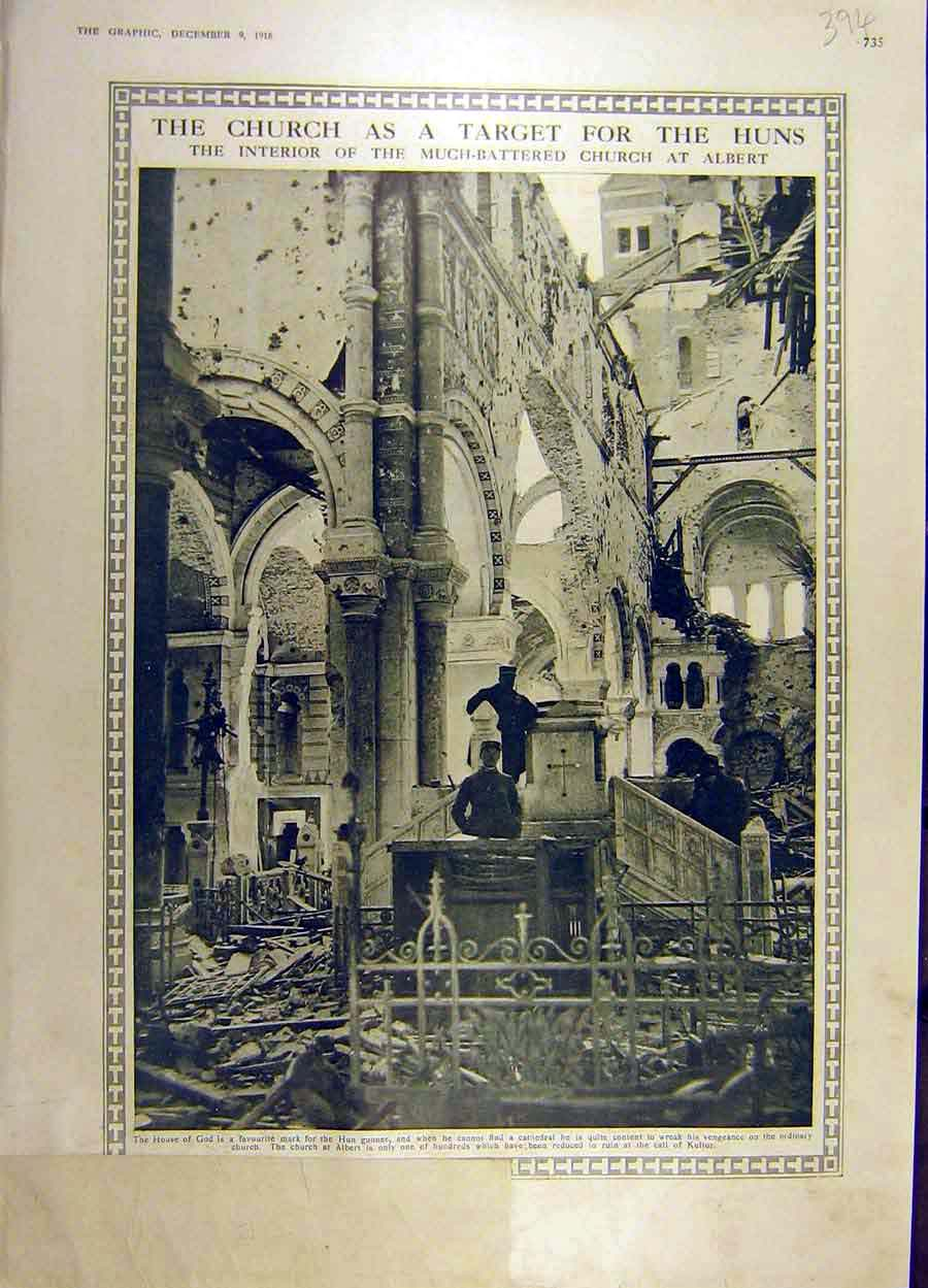 Print 1916 Church Huns Target War Ww1 Albert Ruins 94Ddd1 Old Original