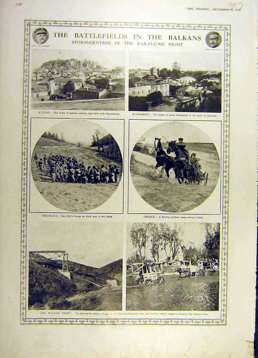 Print 1916 Battle-Field Balkans Athens Bucharest Roumania Ww1 97Ddd1 Old Original