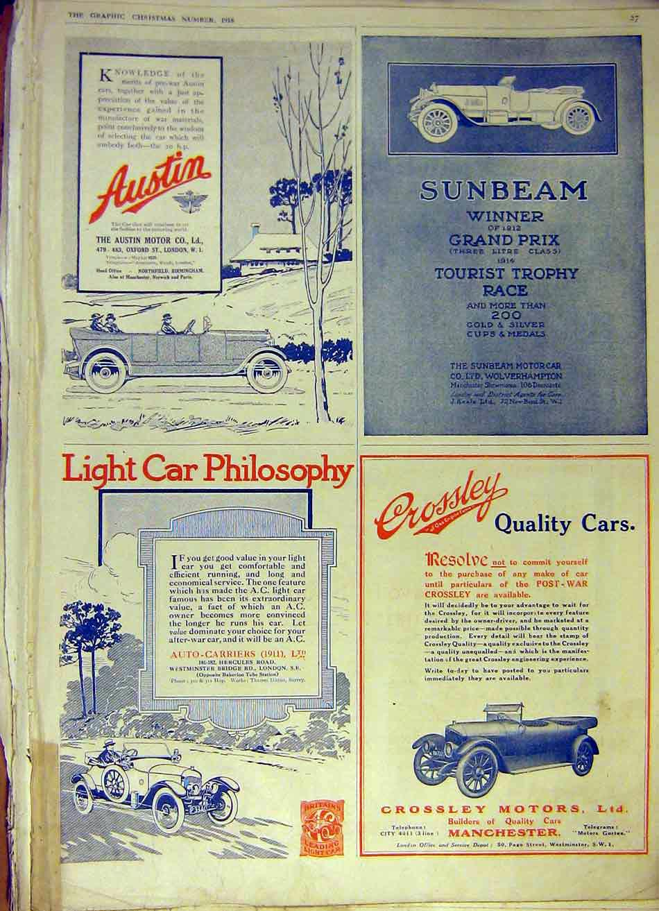 Print Sunbeam Austin Crossley Car Auto-Carriers Motor 1918 27Ddd1 Old Original