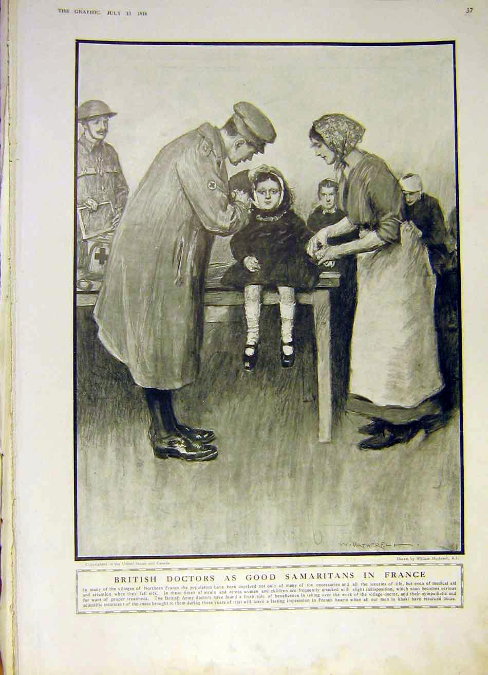 Print British Doctor Samaritan France Ww1 1918 37Ddd1 Old Original