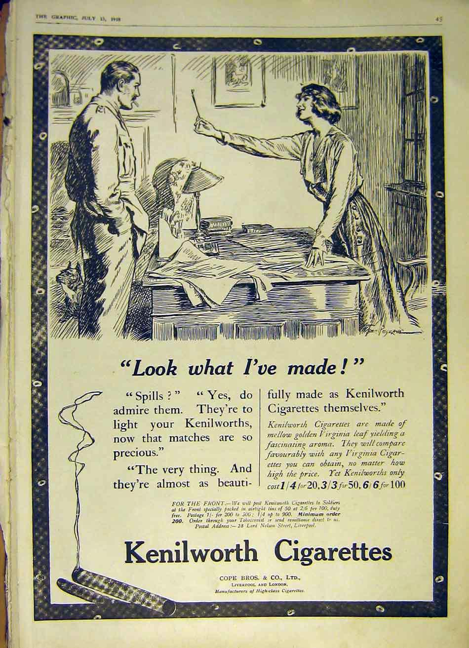 Print Cigarettes Kenilworth Advert Cope Bros 1918 45Ddd1 Old Original