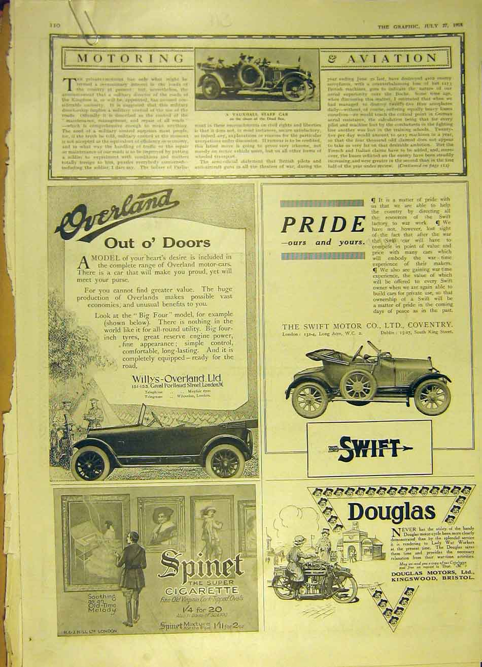 Print Motor-Car Vauxhall Willys Cleveland Tractor 1918 Swift 10Addd1 Old Original
