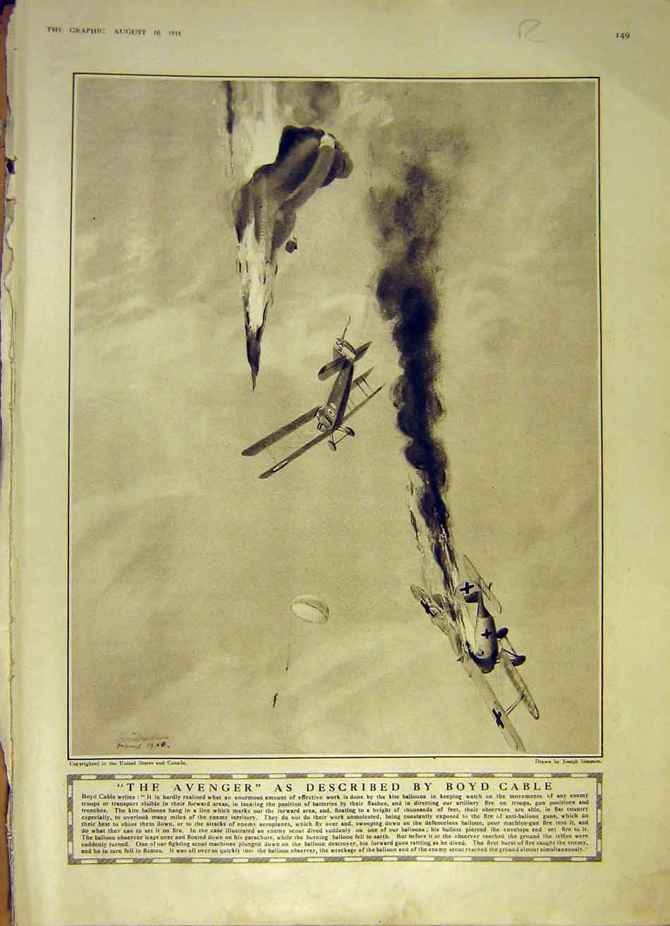 [Print Avenger Cable Aeroplane Scots Italian Alps War 1918 Ww1 49Rddd1 Old Original]
