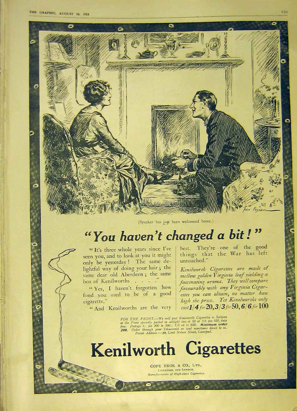 Print Cigarettes Kenilworth War Soldier Advert 1918 59Ddd1 Old Original