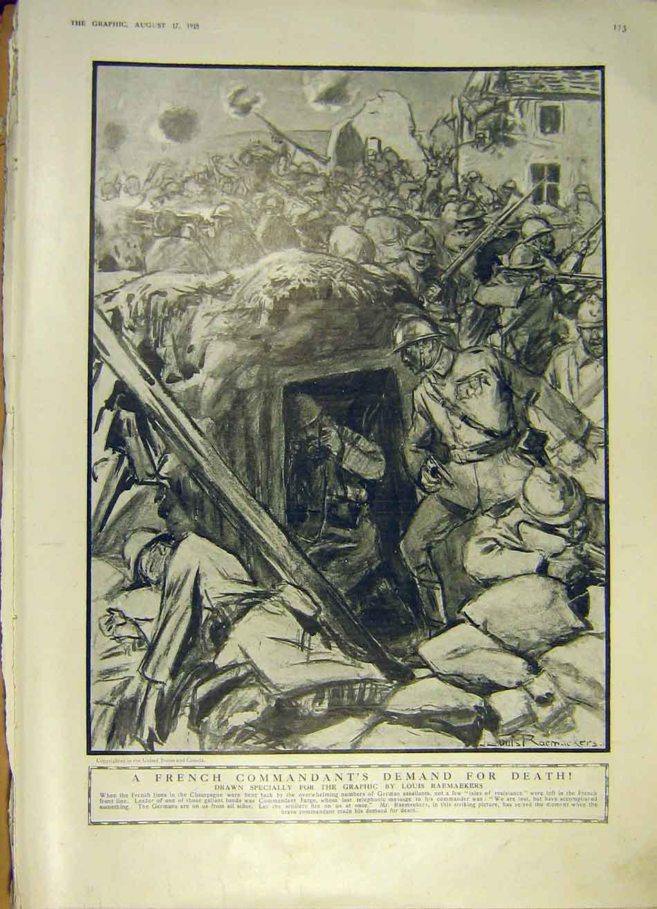 Print French Commandent Raemaekers Champagne Ww1 War 1918 73Ddd1 Old Original