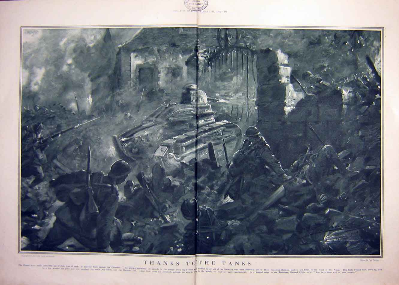 [Print Tanks Ww1 War Aisne Troops Military 1918 81Tddd1 Old Original]