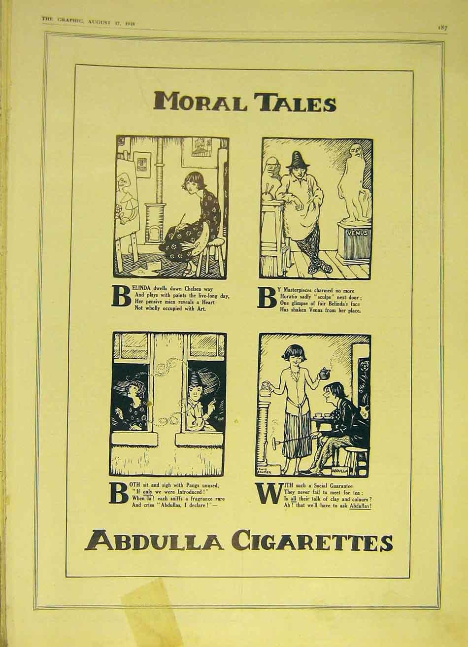 [Print Cigarettes Abdulla Cartoon Sketch Advert Moral 1918 87Ddd1 Old Original]