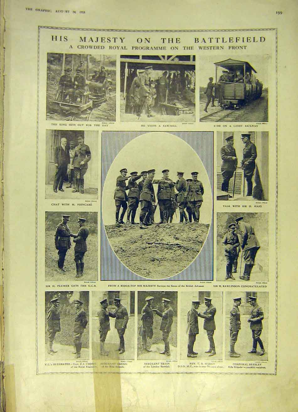 [Print Battle-Field Royal Visit Soldiers Ww1 1918 99Ddd1 Old Original]