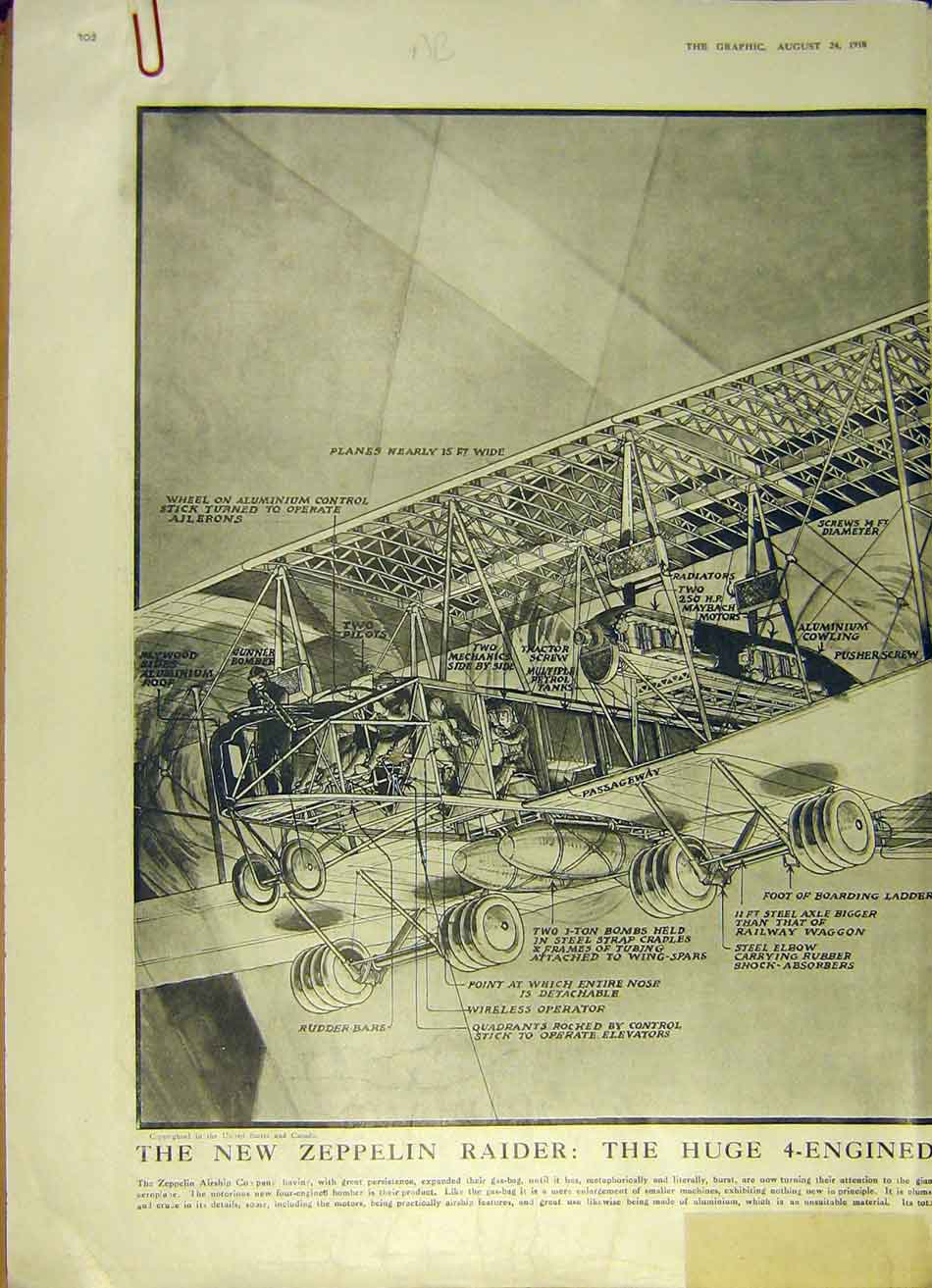 Print Zeppelin Bomb Pane Gas-Bag Aeroplane Ww1 Aircraft 1918 02Addd1 Old Original