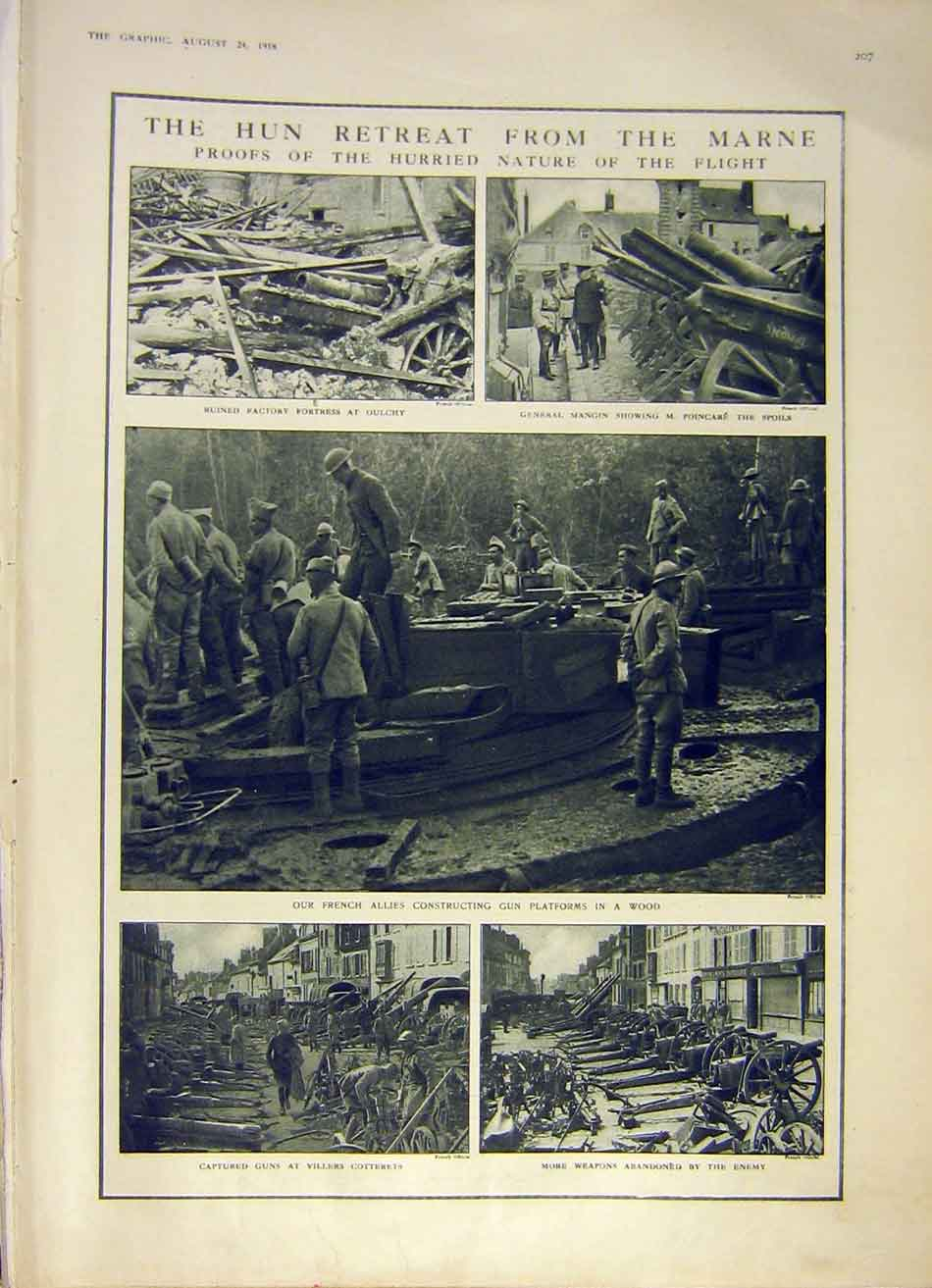[Print Marne France Hun German Ruins Weapons Ww1 1918 War 07Ddd1 Old Original]
