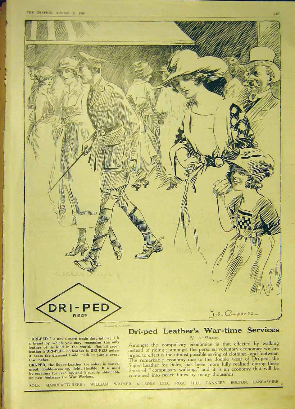Print Dri-Ped Leather War-Time Services Shopping 1918 49Ddd1 Old Original