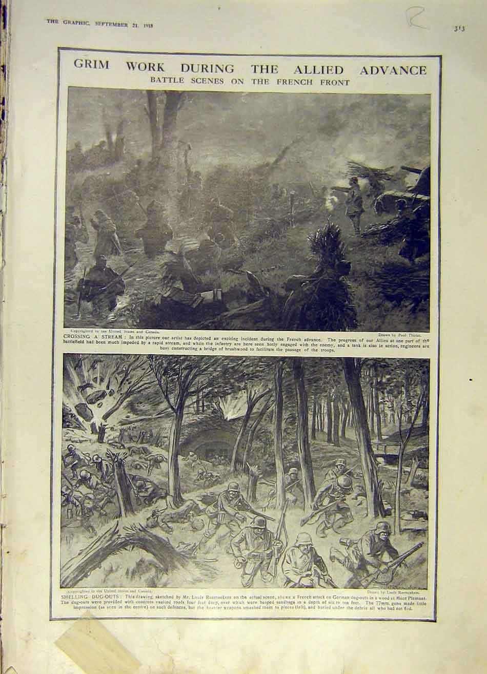 Print French Front Battle Montauban France Ruins Ww1 1918 13Rddd1 Old Original