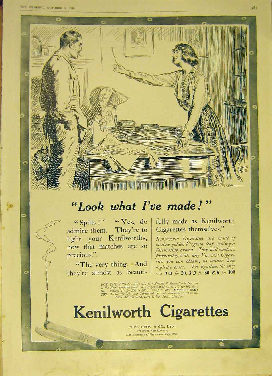 Print Kenilworth Cigarettes Virginia Cope Advert 1918 83Ddd1 Old Original