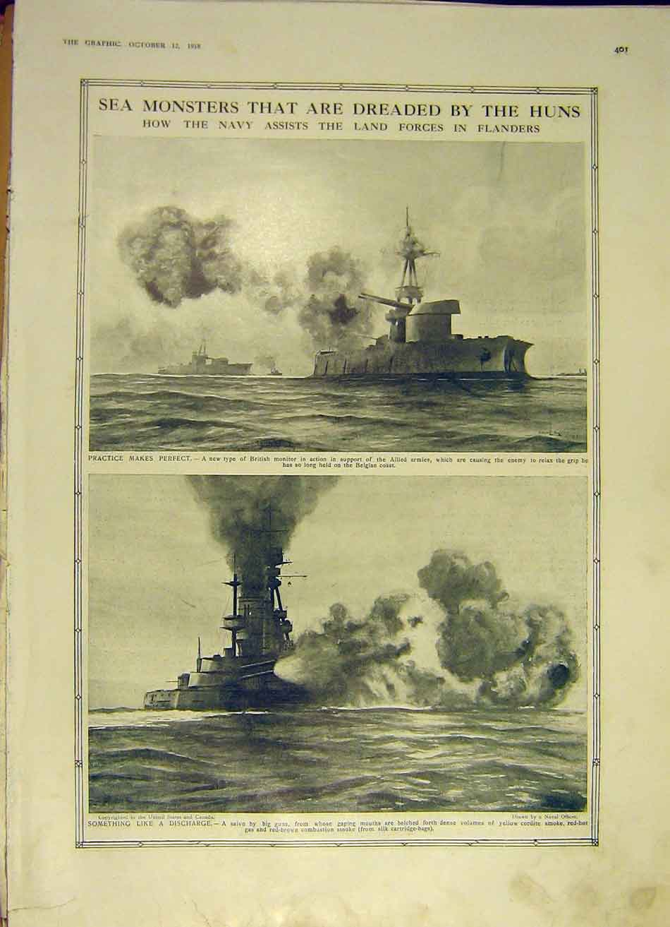 Print Navy Flanders Ww1 Guns Ship British Monitor 1918 War 01Ddd1 Old Original