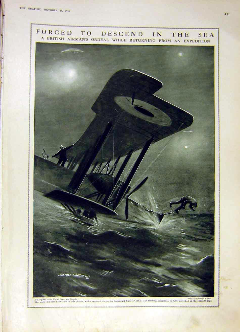 Print British Airman Aeroplane Sea Wreck Bi-Plane Ww1 1918 31Ddd1 Old Original