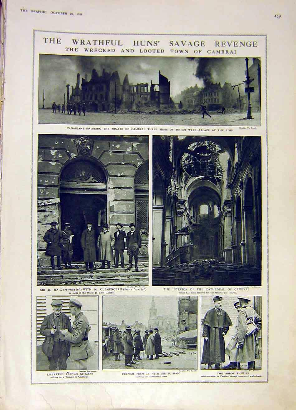 Print Cambrai Ruins Canadians Haig Cathedral 1918 Ww1 59Ddd1 Old Original