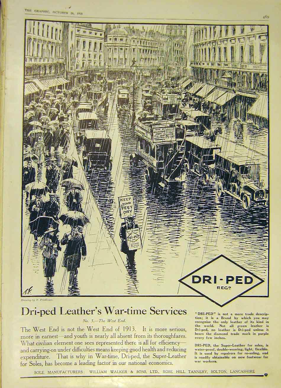 Print Dri-Ped West-End Leather War-Time Services 1918 69Ddd1 Old Original