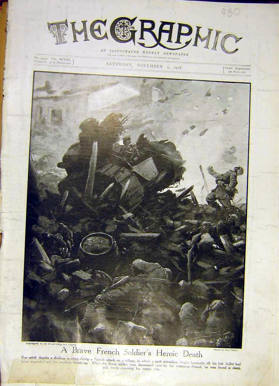 [Print French Soldier Death Battle Military Tank War Ww1 1918 80Ddd1 Old Original]