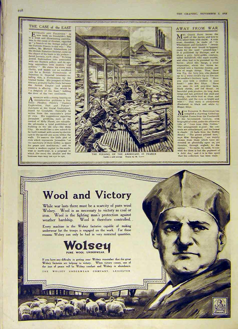 Print Americans France Food Cold-Storage Wolsey Ww1 1918 98Ddd1 Old Original