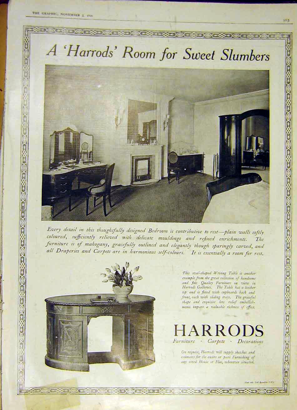 Print Harrods Advert Furniture Carpets Decorations 1918 03Ddd1 Old Original