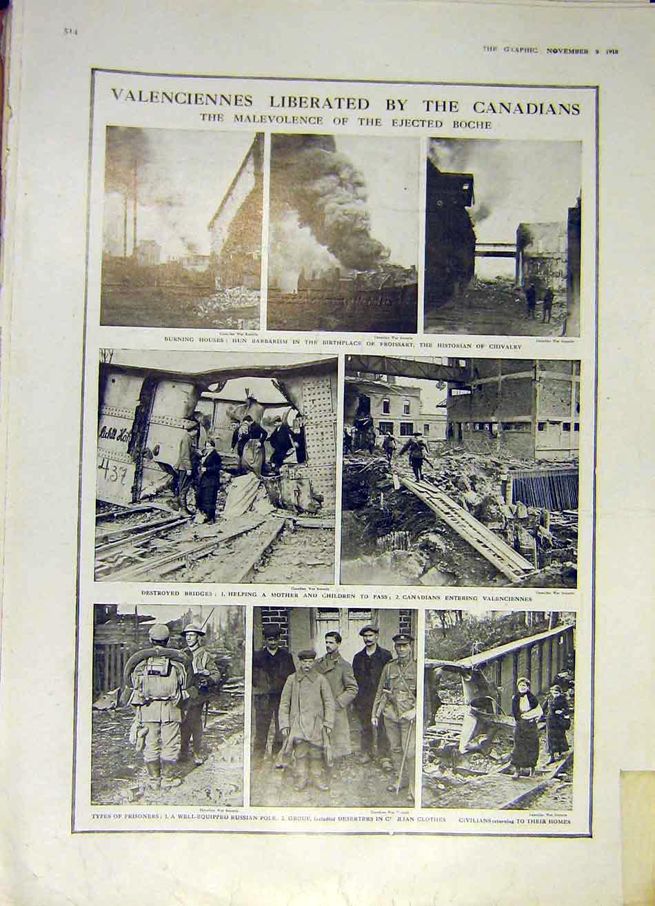Print Valenciennes Canadians Ruins Ww1 Prisoners 1918 14Ddd1 Old Original
