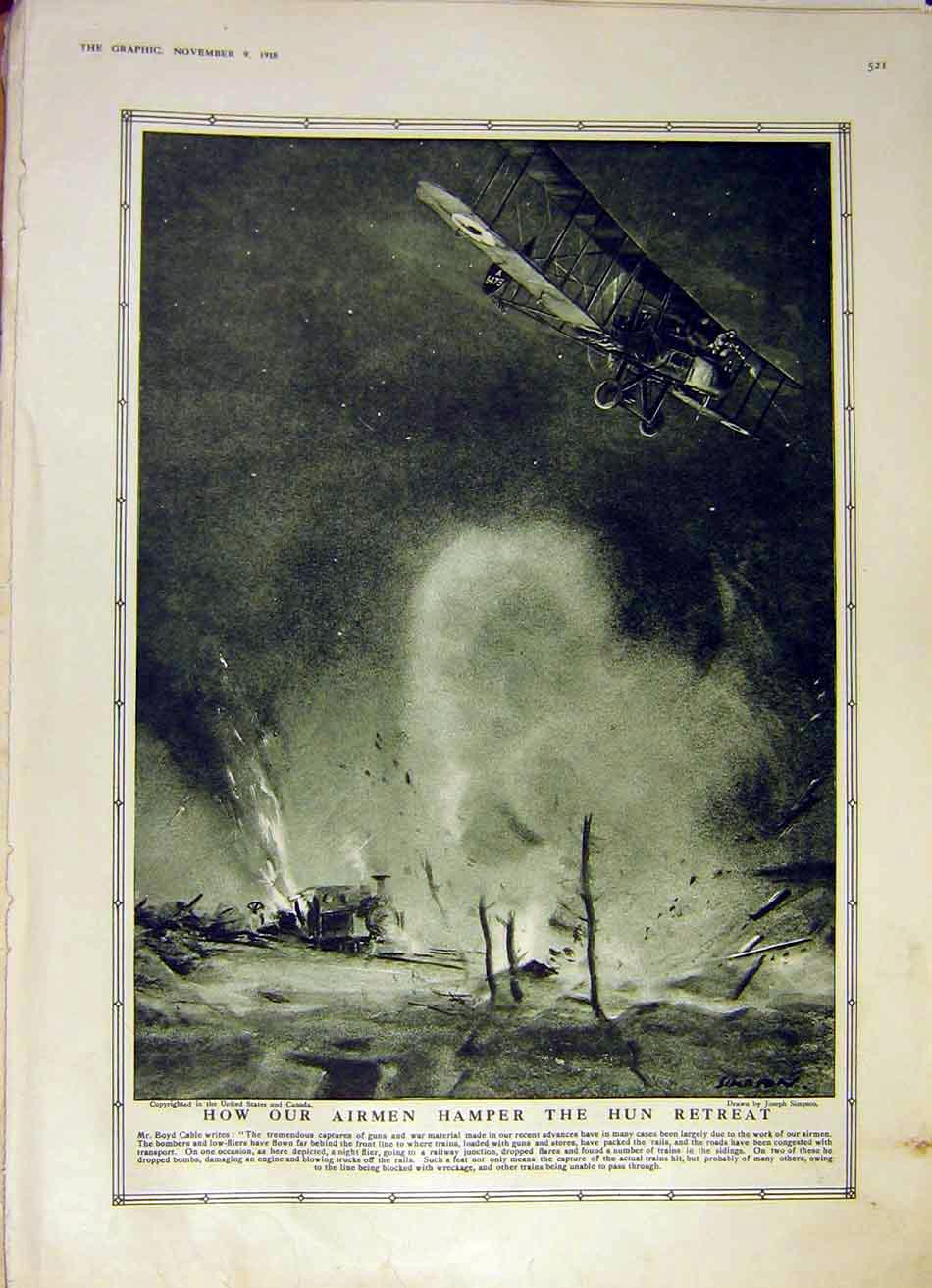 [Print Airmen Hun-Retreat Cable Aeroplane Ww1 Battle 1918 21Ddd1 Old Original]