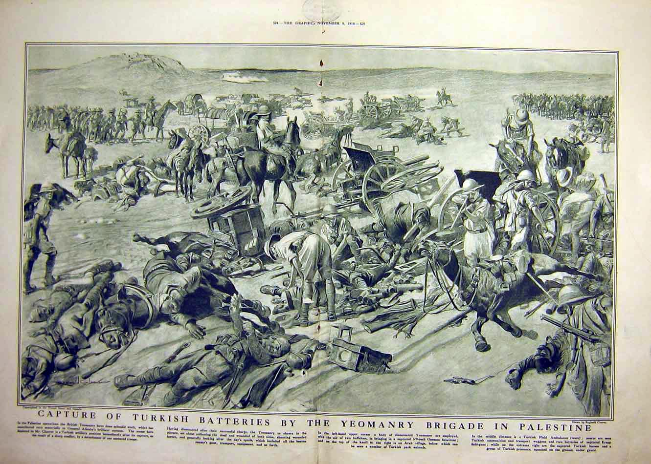 Print Turkish Battery Yeomanry Brigade Palestine Battle 1918 23Tddd1 Old Original