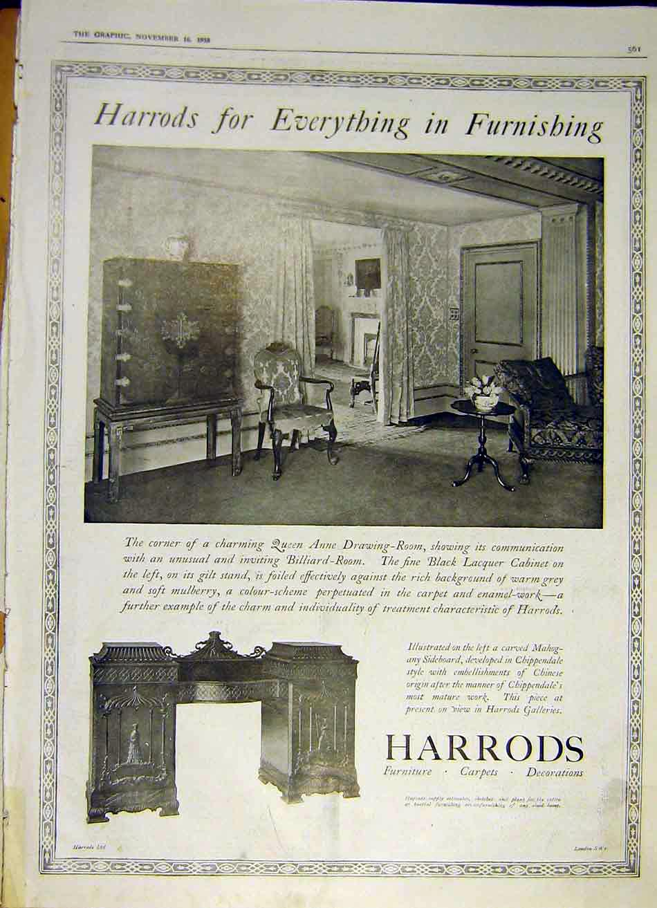Print Harrods Furnishing Furniture Billiard 1918 61Ddd1 Old Original