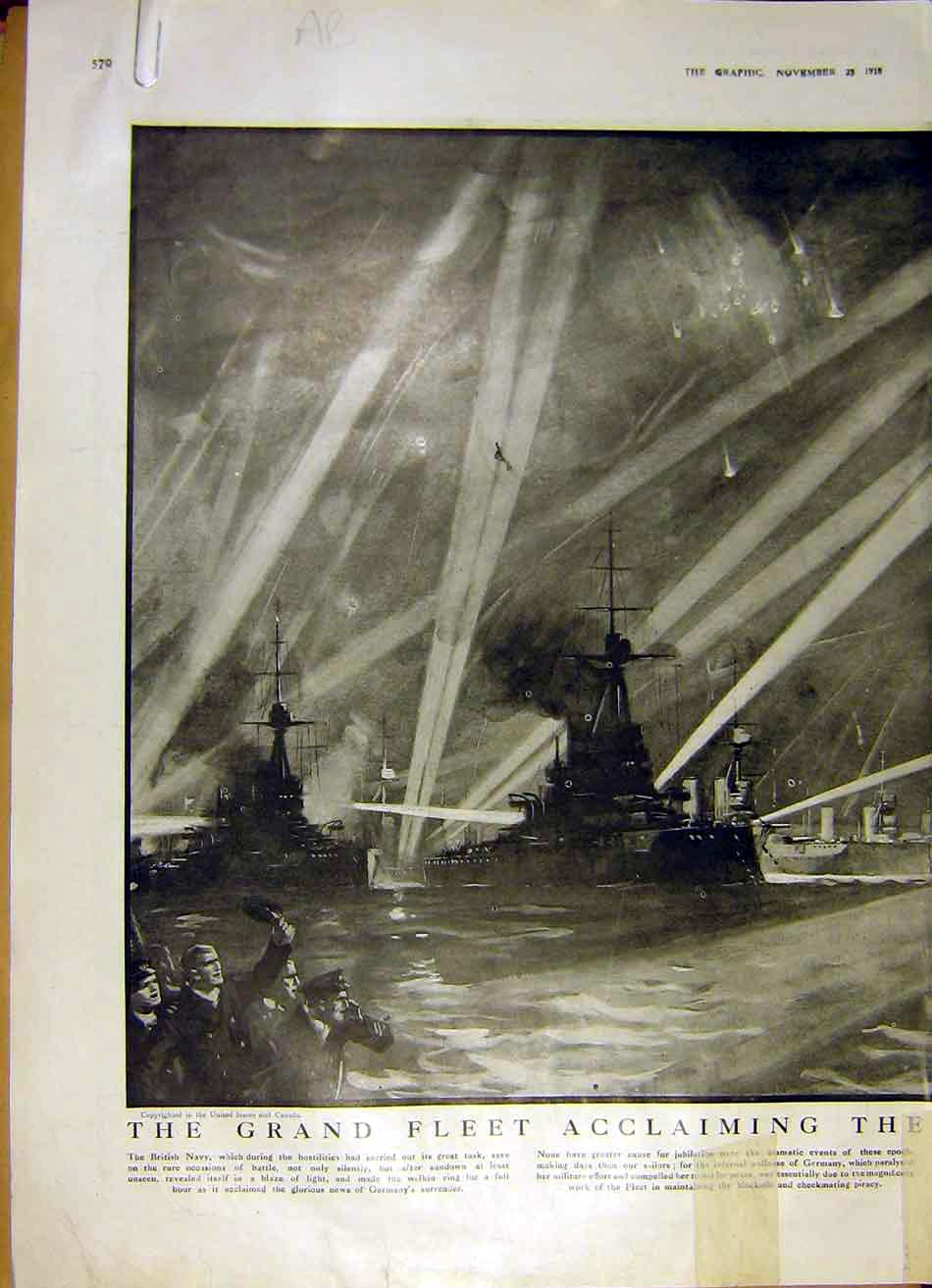 Print Fleet British Navy Allied Ww1 Firth Forth Scotland 1918 70Addd1 Old Original