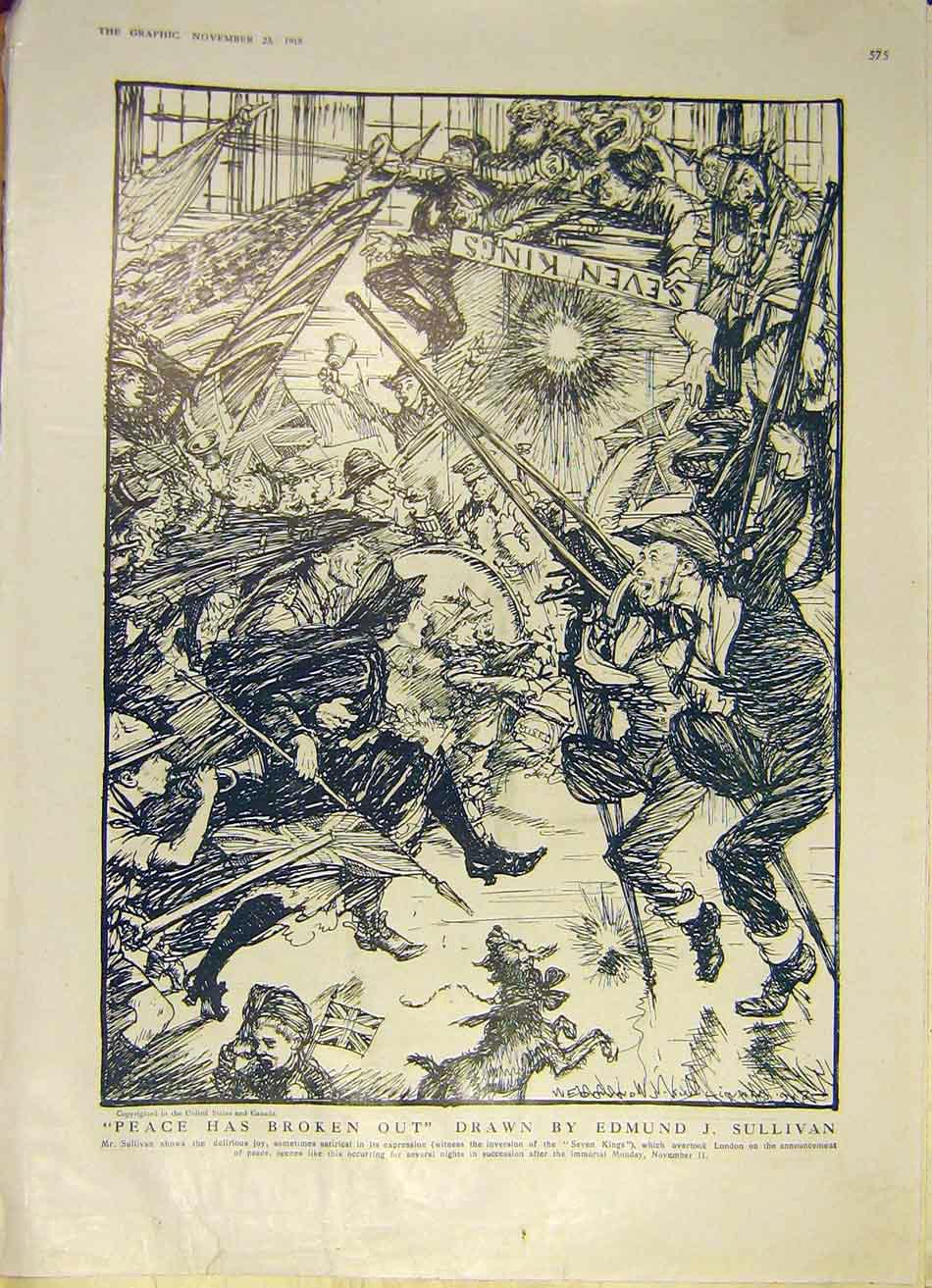 Print Peace Sketch Sullivan Seven-Kings Ww1 1918 75Ddd1 Old Original