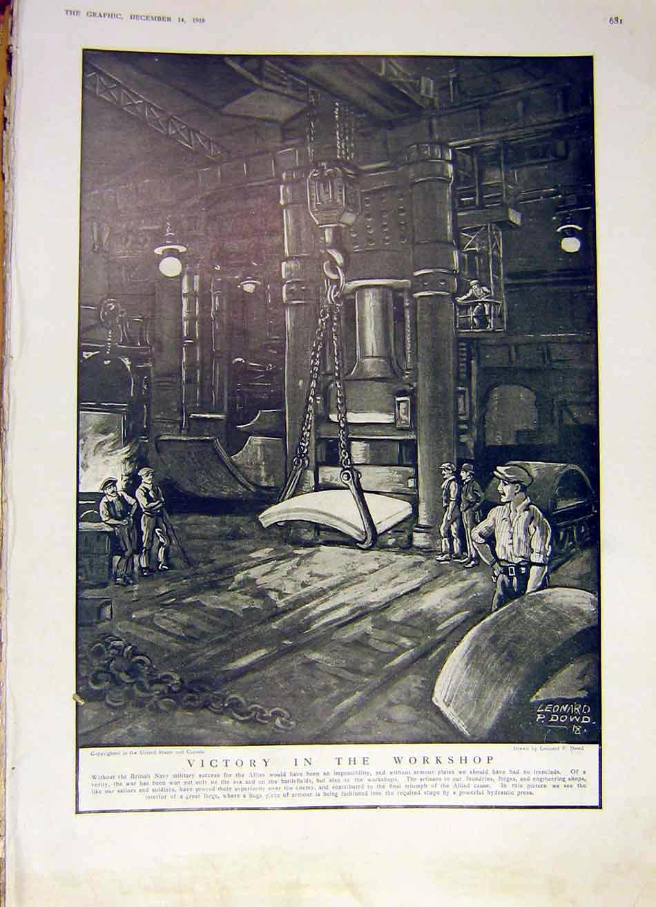 Print Vicotry Workshop Navy Foundry Forge Dowd Ww1 1918 81Ddd1 Old Original