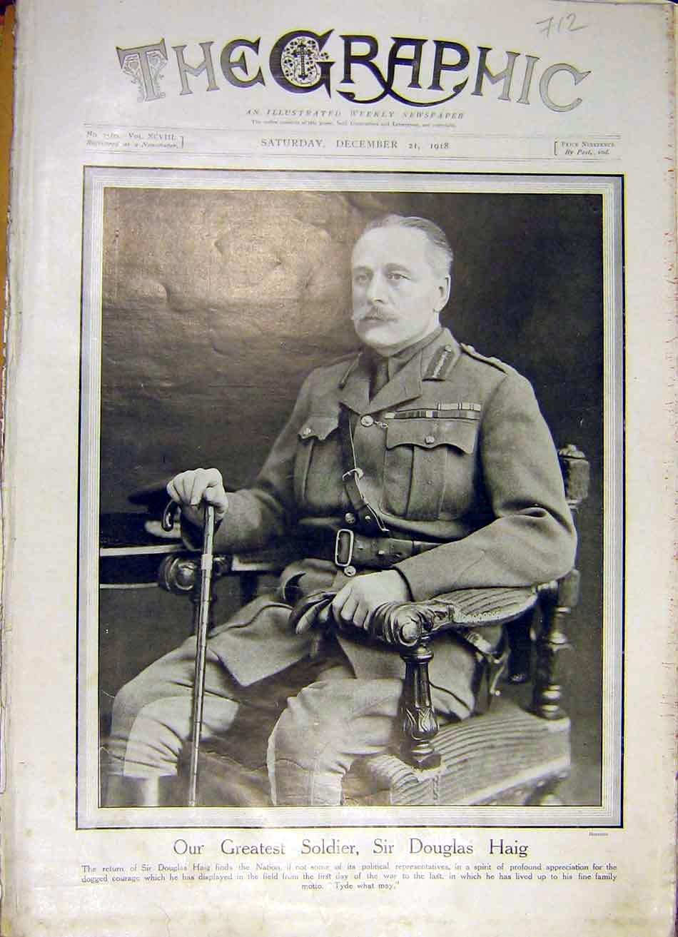 Print Portrait Douglas Haig Soldier Ww1 War 1918 12Ddd1 Old Original